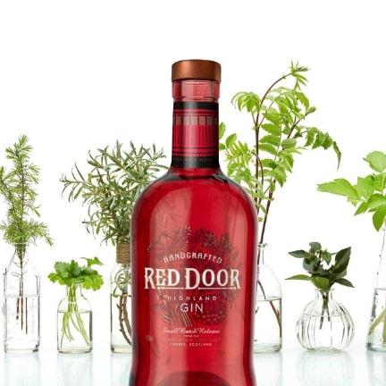 A bottle of Red Door Gin