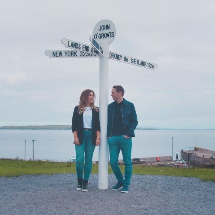Two friends standing at signpost