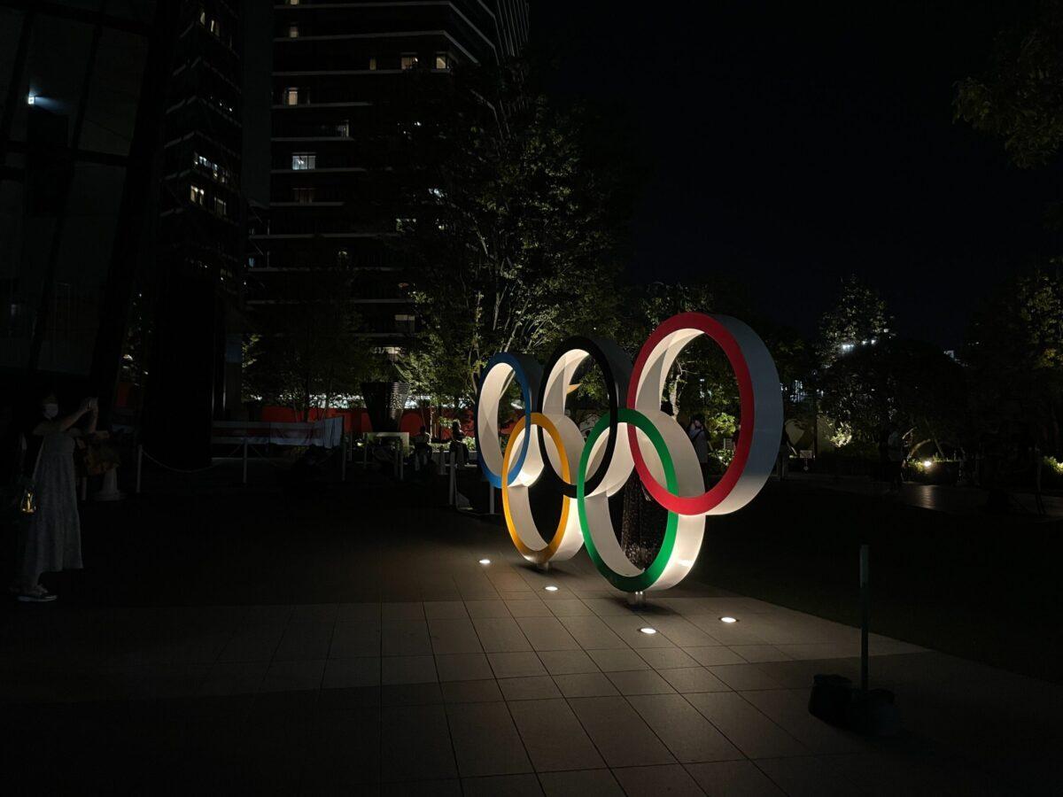 olympics logo illuminated in dark